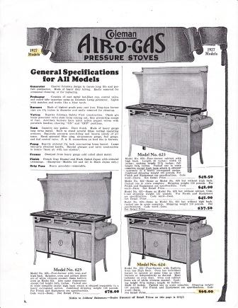 Coleman 624 Air O Gas Stove 1927 Classic Camp Stoves